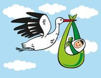 Stork brings baby Royalty Free Stock Photos