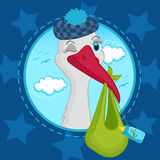 Stork brought baby. Vector illustration, stork with a baby in a bag Stock Images