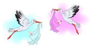 Stork brought a girl and a boy Royalty Free Stock Photos