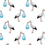 Stork brought a newborn baby seamless pattern, watercolor illustration isolated stock illustration