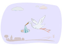 Stork caring newborn baby. Flying white stork caring newborn baby Stock Image