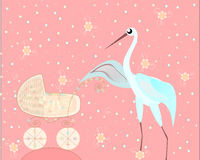 Stork with carriage. Vector illustration, Stork with carriage Stock Photos