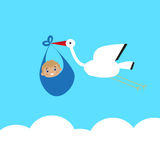 Stork carries a baby in bags above the clouds Stock Photography