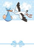 Stork carries baby boy. invitation template  invitation template.  vector, illustration. greeting Royalty Free Stock Image
