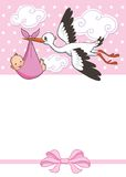 Stork carries baby girl .  invitation template.  vector, illustration. greeting Royalty Free Stock Image