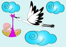 Stork carries newborn child. Illustration stork carries newborn child in sky Stock Images