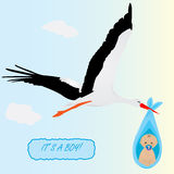 Stork carring a newborn baby boy Royalty Free Stock Image