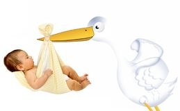 Stork carrying a baby Royalty Free Stock Photo
