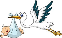Stork carrying baby vector illustration