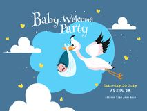 Stork carrying a baby in a bag and event details for Baby Welcome Party. Stork carrying a baby in a bag and event details for Baby Welcome Party invitation card stock illustration