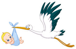 Stork and baby boy Royalty Free Stock Image