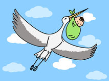 Stork carrying baby Royalty Free Stock Photos