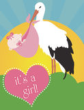 Stork Carrying Baby Girl. Birth announcement with a stork carrying a pink bundle with a new baby girl. A pink heart displays the words it's a girl Stock Images