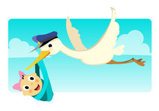 Stork Carrying Baby Girl_stock Royalty Free Stock Photography