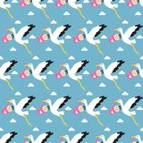 Stork carrying child pattern background. Seamless pattern stork brings the baby against the blue sky with clouds. Vector illustration Stock Photography