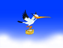 Stork carrying a child to parents. Cartoon stork carrying a child to parents. Vector eps 1o Royalty Free Stock Photography