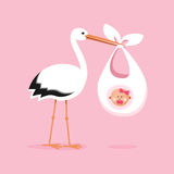 Stork carrying a cute baby girl Royalty Free Stock Images
