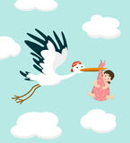 Stork carrying a cute  baby girl. Vector illustration Royalty Free Stock Image