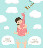 Stork carrying a cute  baby girl. Vector illustration with your text place Stock Images