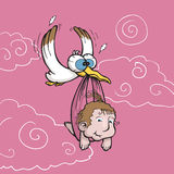 Stork carrying newborn baby Stock Images
