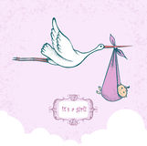 Stork carrying newborn baby Royalty Free Stock Images