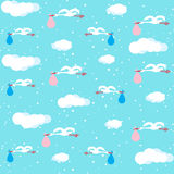 Stork  carrying sack with baby. Seamless pattern Stock Photography