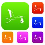 Stork carrying set color collection Royalty Free Stock Photo