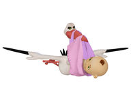 Stork cartoon with baby girl Stock Photo