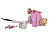 Stork cartoon with baby girl. 3d illustration isolated on the white background Stock Image