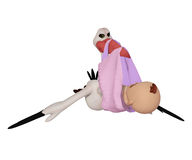 Stork cartoon with baby girl. 3d illustration isolated on the white background Royalty Free Stock Image
