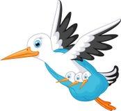 Stork cartoon carrying a baby Royalty Free Stock Photo