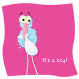 Stork with child. Cartoon stork on pink background. Vector Illustration Stock Photography