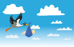 The stork with the child. Flies on the sky along clouds Stock Images