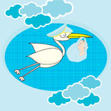 Stork with child. Background pattern  stork with child Stock Images