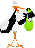 Stork with a child. White stork with a child in the wing Royalty Free Stock Image