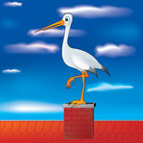 Stork on chimney. Illustration of stork standing on chimney Royalty Free Stock Image