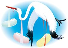 Stork delivering babies. Illustration of stork bird carrying babies wrapped in swaddling cloths Royalty Free Stock Photography