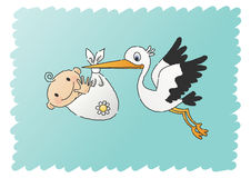 Stork Delivering a Baby. Hand-drawn (scribbled) illustration of a stork delivering a happy, smiling baby Stock Photography