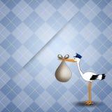 Stork delivering baby boy for birth. Illustration of a stork delivering baby boy Stock Images