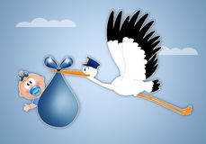 Stork delivering baby boy for birth Royalty Free Stock Photography
