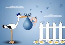 Stork delivering baby boy for birth. Illustration of stork delivering newborn boy Royalty Free Stock Photos