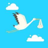 Stork delivering baby cartoon vector illustration. Stork delivering baby. Cartoon colorful vector illustration Stock Images