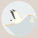 Stork delivering baby cartoon vector illustration. Stork delivering baby. Cartoon colorful vector illustration Royalty Free Stock Photos
