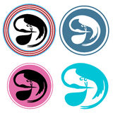Stork Delivering Baby Icon Set Stock Photography
