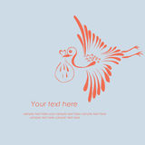 Stork delivering a baby Stock Images