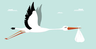 Stork Delivering Baby - It's A Boy Stock Photography
