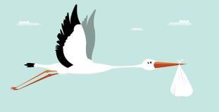 Stork Delivering Baby - It's A Boy. Illustration of a stork delivering bag for boy birth Stock Photography