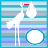 Stork delivering a baby on striped blue background Royalty Free Stock Photography