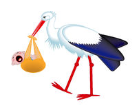 Stork delivering a crying baby Royalty Free Stock Photography