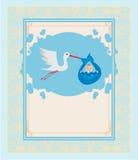 A stork delivering a cute baby boy. Baby Boy Card - A stork delivering a cute baby boy Stock Photography